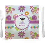 "Butterflies Glass Square Lunch / Dinner Plate 9.5"" - Single or Set of 4 (Personalized)"
