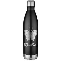 Butterflies Black Water Bottle - 26 oz. Stainless Steel  (Personalized)