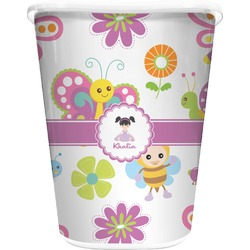 Butterflies Waste Basket - Double Sided (White) (Personalized)
