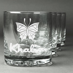 Butterflies Whiskey Glasses (Set of 4) (Personalized)
