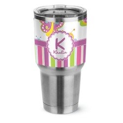 Butterflies & Stripes Stainless Steel Tumbler - 30 oz (Personalized)
