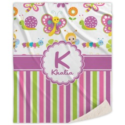 Butterflies & Stripes Sherpa Throw Blanket (Personalized)