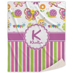 Butterflies & Stripes Sherpa Throw Blanket (Personalized)
