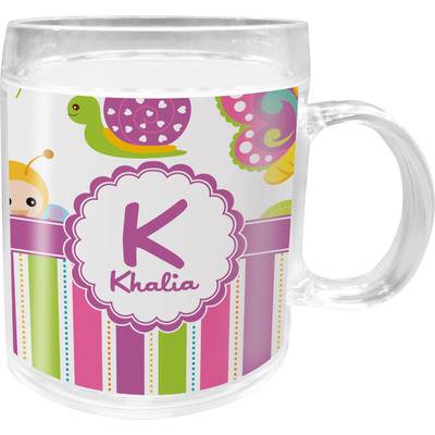 Butterflies & Stripes Acrylic Kids Mug (Personalized)
