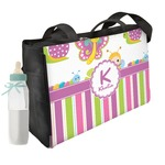 Butterflies & Stripes Diaper Bag w/ Name and Initial