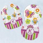 Butterflies & Stripes Baby Bib & Burp Set w/ Name and Initial