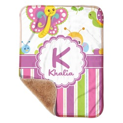 "Butterflies & Stripes Sherpa Baby Blanket 30"" x 40"" (Personalized)"
