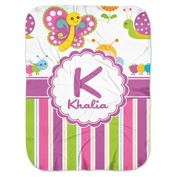Butterflies & Stripes Baby Swaddling Blanket (Personalized)