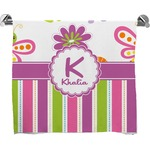 Butterflies & Stripes Full Print Bath Towel (Personalized)