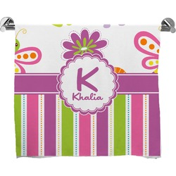 Butterflies & Stripes Full Print Bath Towel (Personalized)
