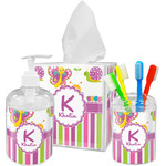 Butterflies & Stripes Bathroom Accessories Set (Personalized)