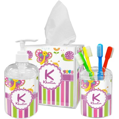 Butterflies & Stripes Acrylic Bathroom Accessories Set w/ Name and Initial