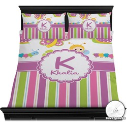 Butterflies & Stripes Duvet Cover Set (Personalized)