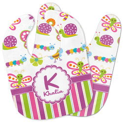Butterflies & Stripes Baby Bib w/ Name and Initial