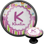 Butterflies & Stripes Cabinet Knob (Black) (Personalized)