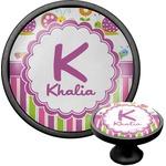 Butterflies & Stripes Cabinet Knob (Black) (Personalized)