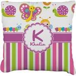 Butterflies & Stripes Faux-Linen Throw Pillow (Personalized)
