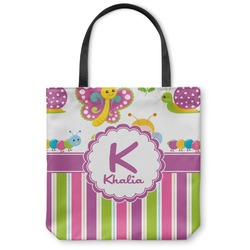 "Butterflies & Stripes Canvas Tote Bag - Small - 13""x13"" (Personalized)"