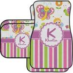 Butterflies & Stripes Car Floor Mats (Personalized)