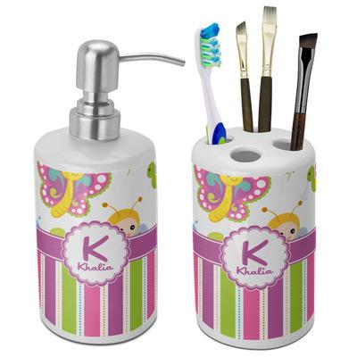 Butterflies & Stripes Bathroom Accessories Set (Ceramic) (Personalized)