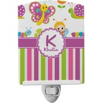 Butterflies & Stripes Ceramic Night Light (Personalized)