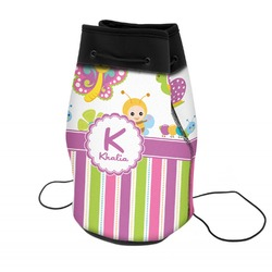 Butterflies & Stripes Neoprene Drawstring Backpack (Personalized)