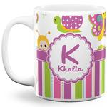 Butterflies & Stripes 11 Oz Coffee Mug - White (Personalized)