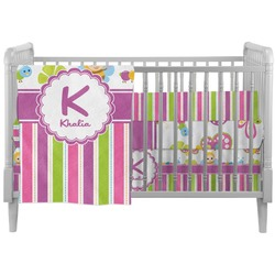 Butterflies & Stripes Crib Comforter / Quilt (Personalized)