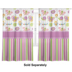"Butterflies & Stripes Curtains - 56""x80"" Panels - Lined (2 Panels Per Set) (Personalized)"