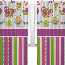 Butterflies & Stripes Curtains (2 Panels Per Set) (Personalized)
