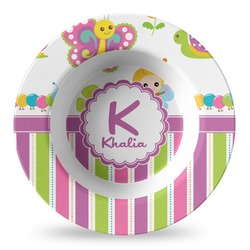 Butterflies & Stripes Plastic Bowl - Microwave Safe - Composite Polymer (Personalized)