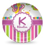Butterflies & Stripes Microwave Safe Plastic Plate - Composite Polymer (Personalized)