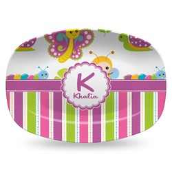 Butterflies & Stripes Plastic Platter - Microwave & Oven Safe Composite Polymer (Personalized)