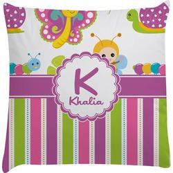 Butterflies & Stripes Decorative Pillow Case (Personalized)