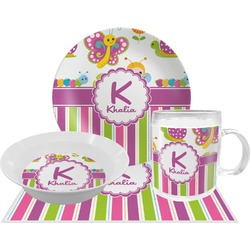Butterflies & Stripes Dinner Set - 4 Pc (Personalized)
