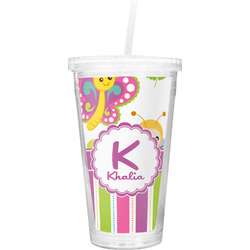 Butterflies & Stripes Double Wall Tumbler with Straw (Personalized)