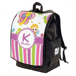 Butterflies & Stripes Backpack w/ Front Flap  (Personalized)