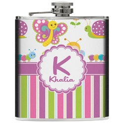 Butterflies & Stripes Genuine Leather Flask (Personalized)