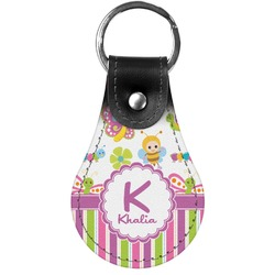 Butterflies & Stripes Genuine Leather  Keychain (Personalized)