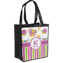 Butterflies & Stripes Grocery Bag (Personalized)