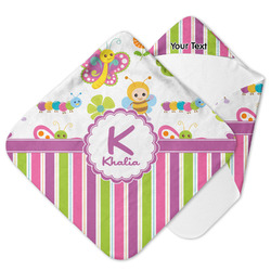 Butterflies & Stripes Hooded Baby Towel (Personalized)