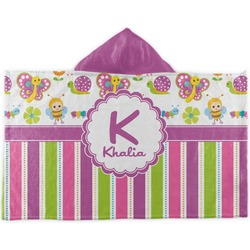 Butterflies & Stripes Kids Hooded Towel (Personalized)