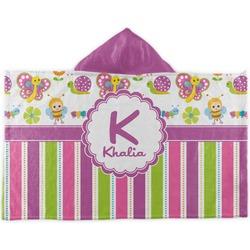 Butterflies & Stripes Kids Hooded Towel (Personalized)