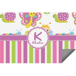 Butterflies & Stripes Indoor / Outdoor Rug - 8'x10' (Personalized)