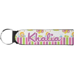 Butterflies & Stripes Neoprene Keychain Fob (Personalized)