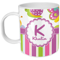 Butterflies & Stripes Plastic Kids Mug (Personalized)