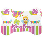 Butterflies & Stripes Bone Shaped Dog Food Mat (Personalized)