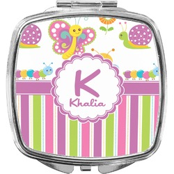 Butterflies & Stripes Compact Makeup Mirror (Personalized)