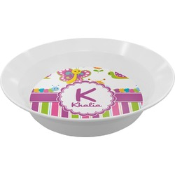Butterflies & Stripes Melamine Bowl (Personalized)