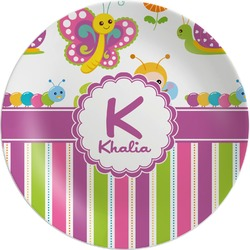 Butterflies & Stripes Melamine Plate (Personalized)